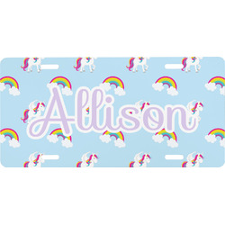 Rainbows and Unicorns Front License Plate (Personalized)