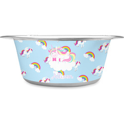 Rainbows and Unicorns Stainless Steel Dog Bowl (Personalized)