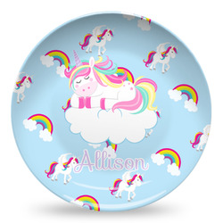 Rainbows and Unicorns Microwave Safe Plastic Plate - Composite Polymer (Personalized)