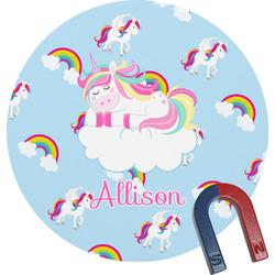 Rainbows and Unicorns Round Fridge Magnet (Personalized)