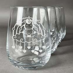 Rainbows and Unicorns Stemless Wine Glasses (Set of 4) (Personalized)