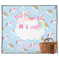 Rainbows and Unicorns Outdoor Picnic Blanket w/ Name or Text