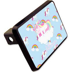 """Rainbows and Unicorns Rectangular Trailer Hitch Cover - 2"""" w/ Name or Text"""