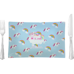 Rainbows and Unicorns Rectangular Glass Lunch / Dinner Plate - Single or Set (Personalized)