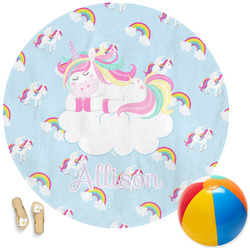 Rainbows and Unicorns Round Beach Towel (Personalized)