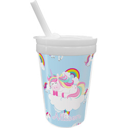 Rainbows and Unicorns Sippy Cup with Straw (Personalized)