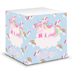 Rainbows and Unicorns Sticky Note Cube w/ Name or Text