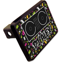 """Music DJ Master Rectangular Trailer Hitch Cover - 2"""" w/ Name or Text"""