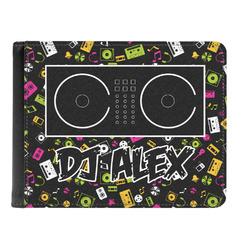 Music DJ Master Genuine Leather Men's Bi-fold Wallet w/ Name or Text