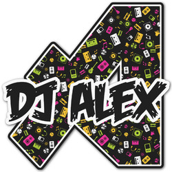Music DJ Master Name & Initial Decal - Custom Sized (Personalized)