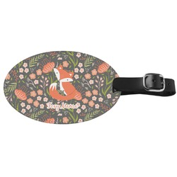 Foxy Mama Genuine Leather Oval Luggage Tag