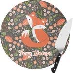 Foxy Mama Round Glass Cutting Board