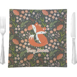 "Foxy Mama Glass Square Lunch / Dinner Plate 9.5"" - Single or Set of 4"