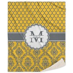 Damask & Moroccan Sherpa Throw Blanket (Personalized)