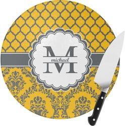 Damask & Moroccan Round Glass Cutting Board - Small (Personalized)