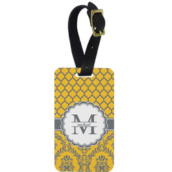 Damask & Moroccan Metal Luggage Tag w/ Name and Initial
