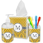 Damask & Moroccan Acrylic Bathroom Accessories Set w/ Name and Initial