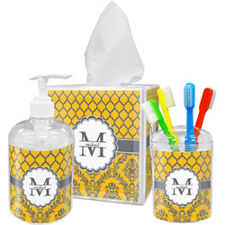 Damask & Moroccan Bathroom Accessories Set (Personalized)