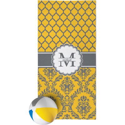 Damask & Moroccan Beach Towel (Personalized)