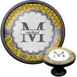 Damask & Moroccan Cabinet Knob (Black) (Personalized)