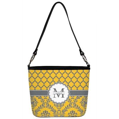 Damask & Moroccan Bucket Bag w/ Genuine Leather Trim (Personalized)
