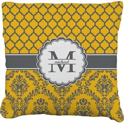 Damask & Moroccan Faux-Linen Throw Pillow (Personalized)