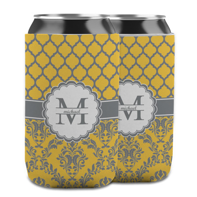 Damask & Moroccan Can Cooler (12 oz) w/ Name and Initial
