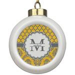Damask & Moroccan Ceramic Ball Ornament (Personalized)