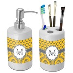 Damask & Moroccan Bathroom Accessories Set (Ceramic) (Personalized)