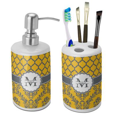 Damask & Moroccan Ceramic Bathroom Accessories Set (Personalized)