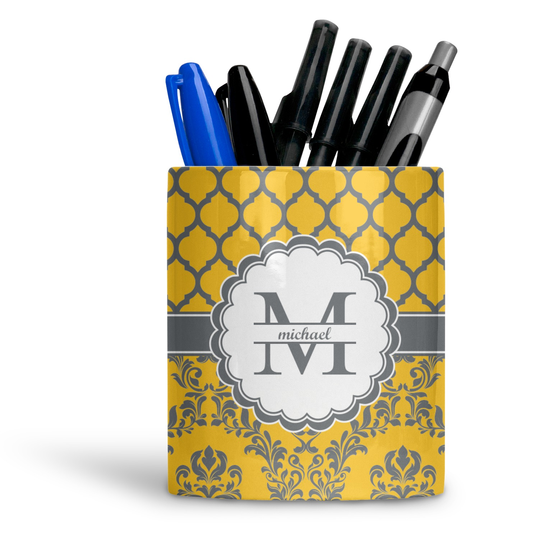 Damask Moroccan Ceramic Pen Holder
