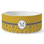 Damask & Moroccan Ceramic Dog Bowl (Personalized)
