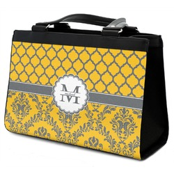 Damask & Moroccan Classic Tote Purse w/ Leather Trim w/ Name and Initial