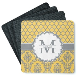 Damask & Moroccan Square Rubber Backed Coasters - Set of 4 (Personalized)