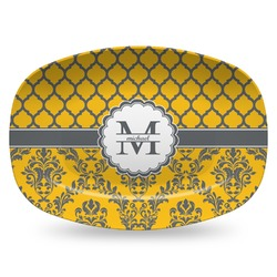 Damask & Moroccan Plastic Platter - Microwave & Oven Safe Composite Polymer (Personalized)