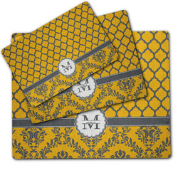 Damask & Moroccan Dog Food Mat w/ Name and Initial