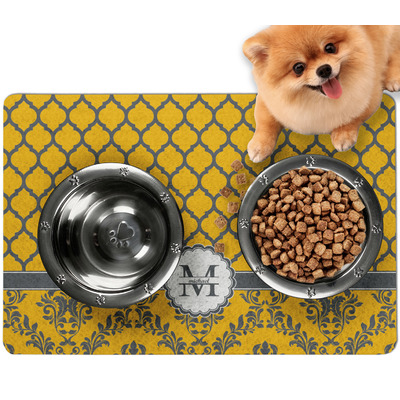 Damask & Moroccan Dog Food Mat - Small w/ Name and Initial