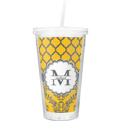 Damask & Moroccan Double Wall Tumbler with Straw (Personalized)