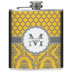 Damask & Moroccan Genuine Leather Flask (Personalized)