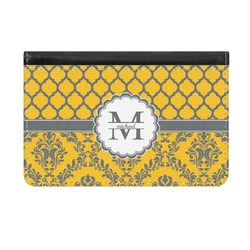 Damask & Moroccan Genuine Leather ID & Card Wallet - Slim Style (Personalized)