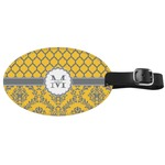 Damask & Moroccan Genuine Leather Oval Luggage Tag (Personalized)
