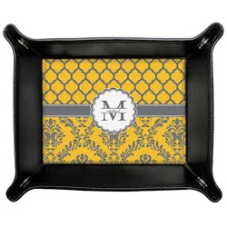 Damask & Moroccan Genuine Leather Valet Tray (Personalized)