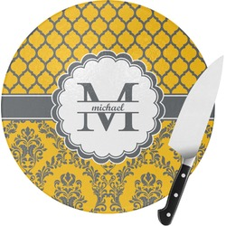 Damask & Moroccan Round Glass Cutting Board (Personalized)