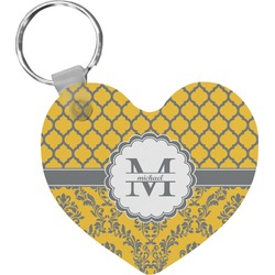 Damask & Moroccan Heart Keychain (Personalized)