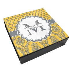 Damask & Moroccan Leatherette Keepsake Box - 8x8 (Personalized)