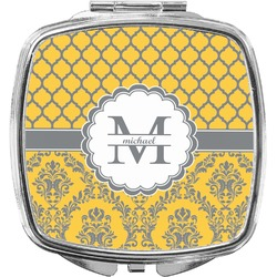 Damask & Moroccan Compact Makeup Mirror (Personalized)