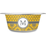 Damask & Moroccan Stainless Steel Dog Bowl (Personalized)