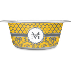Damask & Moroccan Stainless Steel Pet Bowl - Medium (Personalized)