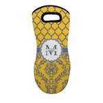 Damask & Moroccan Neoprene Oven Mitt - Single w/ Name and Initial