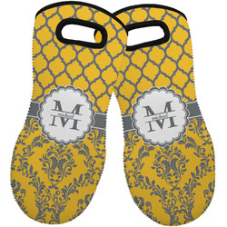 Damask & Moroccan Neoprene Oven Mitts - Set of 2 w/ Name and Initial